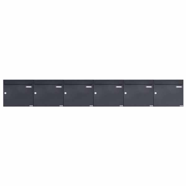 6er 1x6 Aufputz Briefkasten Design BASIC 382A AP - RAL 7016 anthrazitgrau