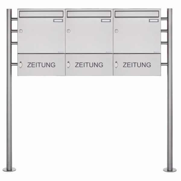 3er 1x3 Edelstahl Standbriefkasten Design BASIC 381 ST-R mit Zeitungsfach geschlossen