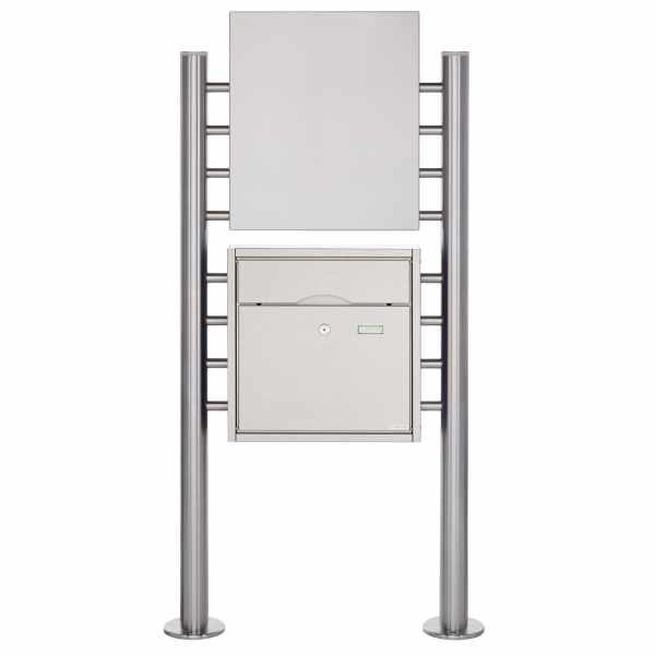 Edelstahl Standbriefkasten PREMIUM BIG ST-R mit Werbeschild 400x457 aus Edelstahl gebürstet