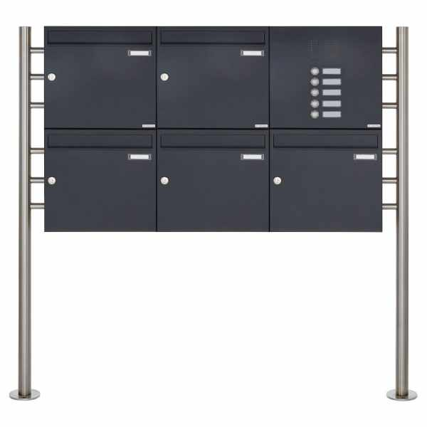 5er 2x3 Standbriefkasten Design BASIC 381 ST-R mit Klingelkasten - RAL 7016 anthrazitgrau