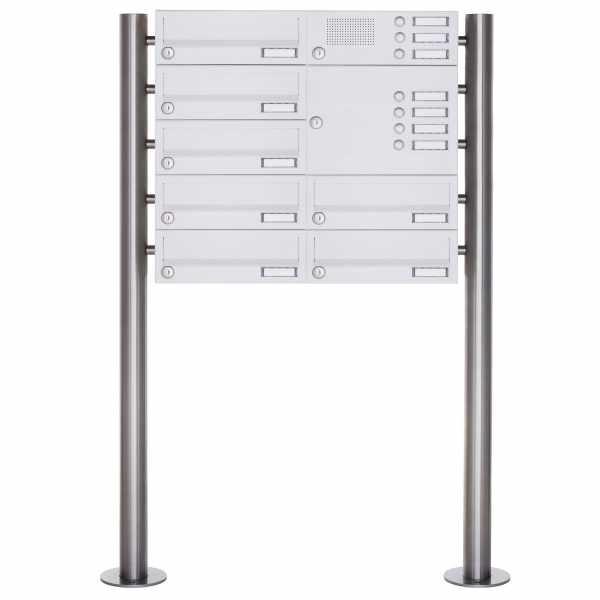 7er Standbriefkasten Design BASIC 385-9016 ST-R mit Klingelkasten - RAL 9016 verkehrsweiß