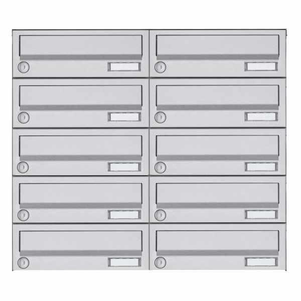 10er 5x2 Aufputz Briefkastenanlage Design BASIC 385A AP - Edelstahl V2A, geschliffen