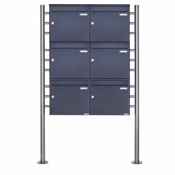 6er 3x2 Edelstahl Standbriefkasten Design BASIC Plus 381X ST-R - RAL nach Wahl