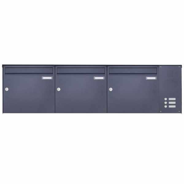 3er Aufputz Briefkasten BASIC Plus 382X AP mit Klingelkasten seitlich - RAL nach Wahl