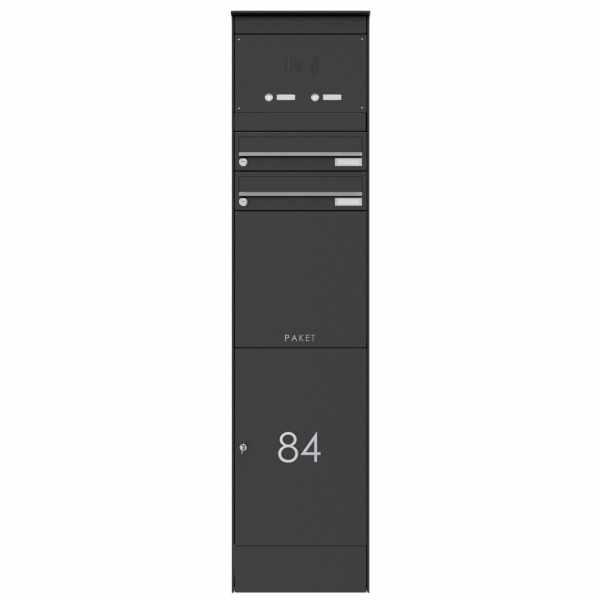 2er Edelstahl Briefkastenstele BASIC Plus 864X mit Paketfach 550x370 & Klingelkasten - RAL nach Wahl