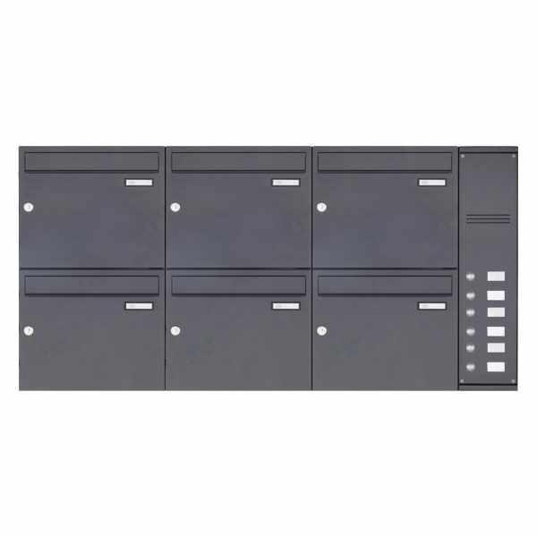 6er Edelstahl Aufputz Briefkasten BASIC Plus 592C AP pulverbeschichtet - Klingelkasten - INDIVIDUELL