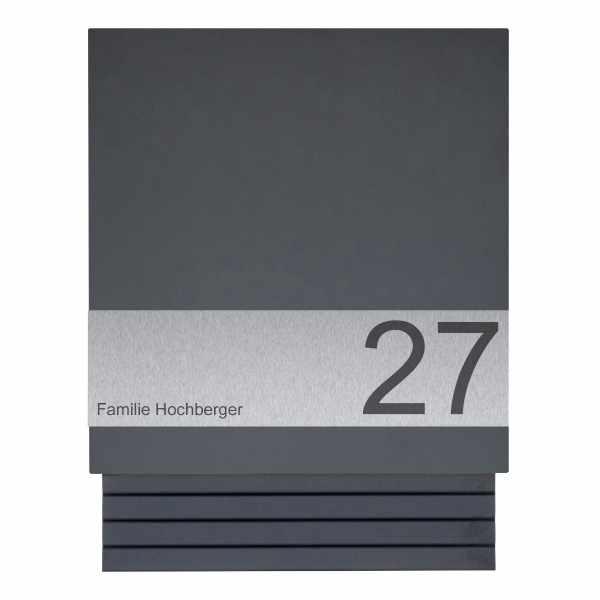 Design Briefkasten mit Zeitungsfach SCHILLER SMALL VARS - RAL Farbe mit Edelstahlapplikation