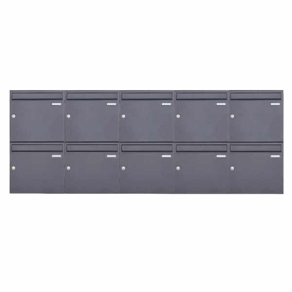 10er 2x5 Aufputz Briefkasten Design BASIC 382A AP - DB703 eisenglimmer