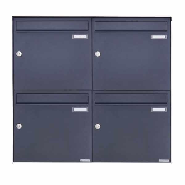 4er 2x2 Edelstahl Aufputz Briefkasten Design BASIC Plus 382XA AP - RAL nach Wahl