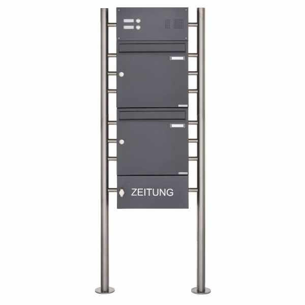 2er Standbriefkasten Design BASIC 381 ST-R mit Klingelkasten & Zeitungsfach- RAL 7016 anthrazit
