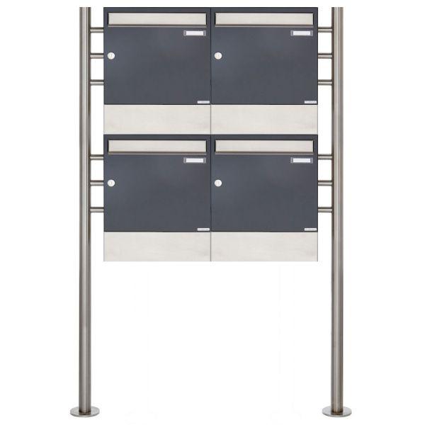 4er 2x2 Standbriefkasten Design BASIC 381 ST-R mit Zeitungsfächer - Edelstahl-RAL 7016 anthrazitgrau