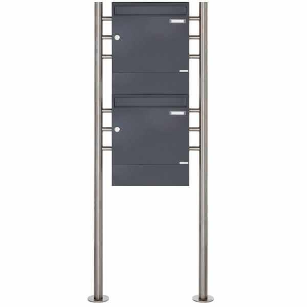 2er 2x1 Standbriefkasten Design BASIC 381 ST-R mit Zeitungsfächer - RAL 7016 anthrazitgrau