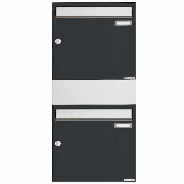 2er 2x1 Aufputz Briefkasten BASIC 382A AP mit 1x Zeitungsfach - Edelstahl-RAL 7016 anthrazitgrau