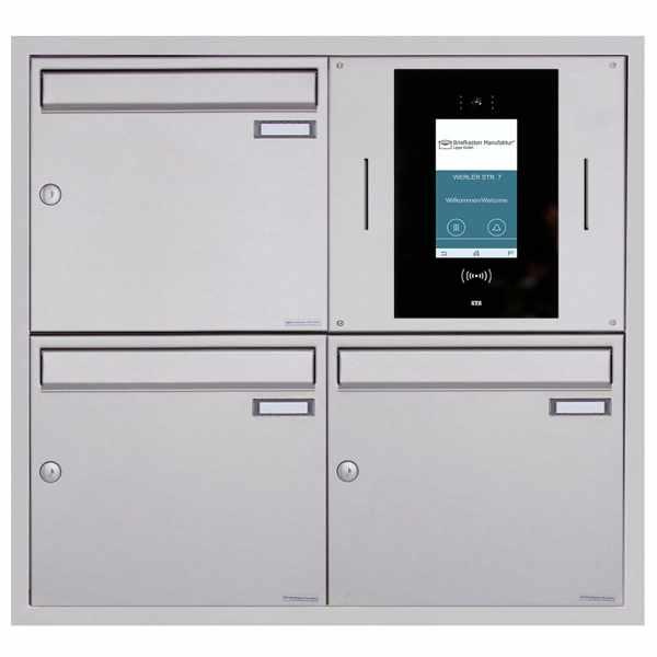 3er Unterputzbriefkasten BASIC Plus 382XU UP - Edelstahl geschliffen - STR Digitale Türstation