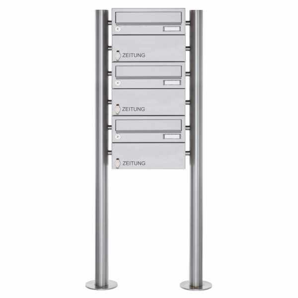 3er Standbriefkasten Design BASIC 385-VA ST-R - 3x Zeitungsfach - Edelstahl V2A, geschliffen