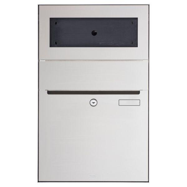 Renz Plan S Aufputz Briefkasten - Edelstahl V4A, gebürstet - GIRA System 106 - 3-fach vorbereitet