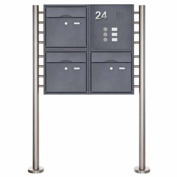 3er 2x2 Standbriefkasten PREMIUM BIG mit Klingeltableau aus Edelstahl pulverbeschichtet in RAL
