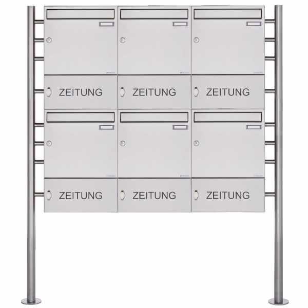 6er 2x3 Edelstahl Standbriefkasten Design BASIC 381 ST-R mit Zeitungsfach geschlossen
