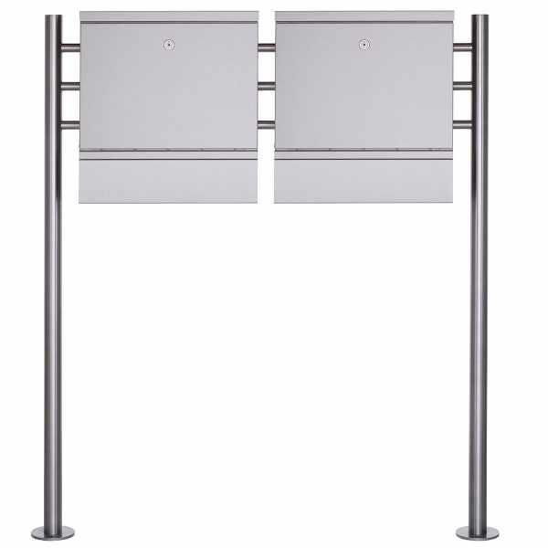 2er Design Standbriefkasten BRECHT ST-R mit Zeitungsfach - Edelstahl V2A geschliffen