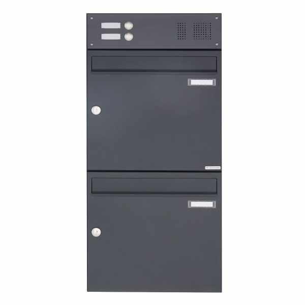 2er Aufputz Briefkasten Design BASIC 382A AP mit Klingelkasten - RAL 7016 anthrazitgrau