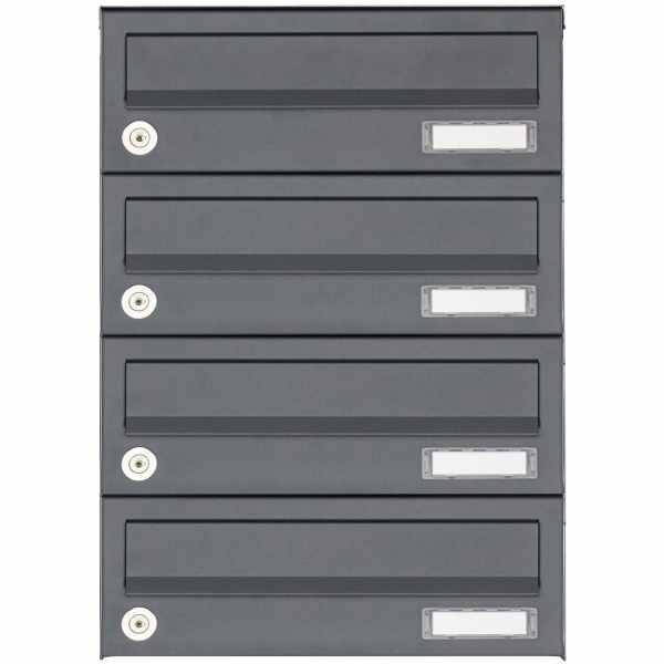 4er Aufputz Briefkastenanlage Design BASIC 385A AP - RAL 7016 anthrazitgrau