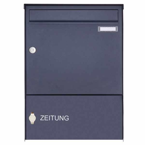 1er Edelstahl Aufputz Briefkasten Design BASIC Plus 382XA AP mit Zeitungsfach - RAL nach Wahl