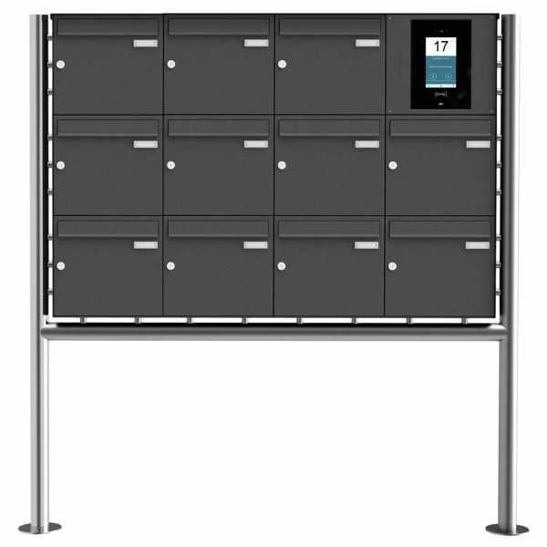 11er Edelstahl Standbriefkasten BASIC Plus 381X ST-R - RAL- STR Digitale Türstation - Komplettset
