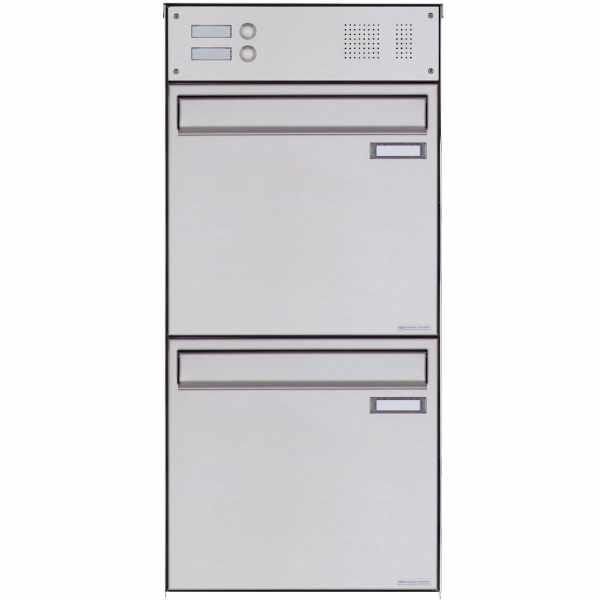 2er 2x1 Edelstahl Zaunbriefkasten BASIC Plus 382XZ mit Klingelkasten - Entnahme rückseitig