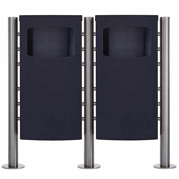 2-fach Edelstahl Abfalleimer - Abfallbehälter Design BASIC 650X - 45 Liter - RAL nach Wahl