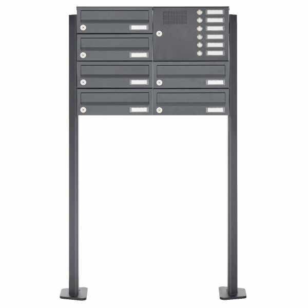 6er Standbriefkasten Design BASIC 385P ST-T mit Klingelkasten - RAL 7016 anthrazitgrau