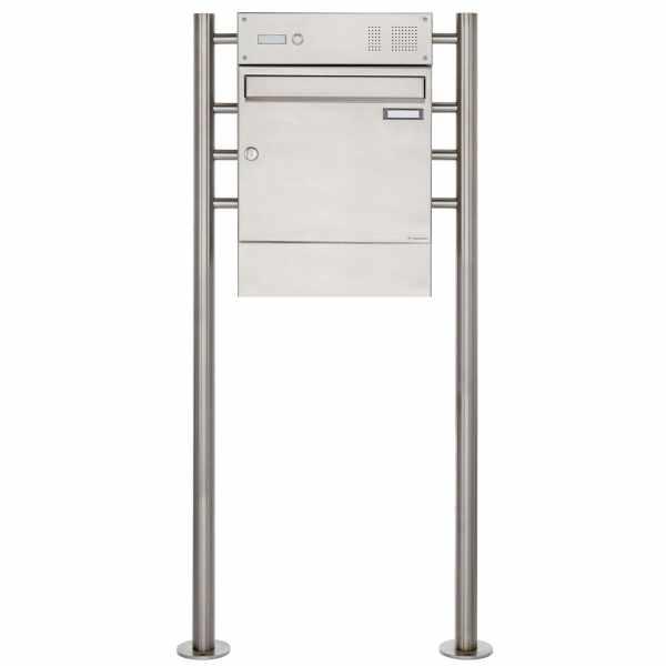 Edelstahl Standbriefkasten Design BASIC 381 ST-R mit Klingelkasten & Zeitungsfach