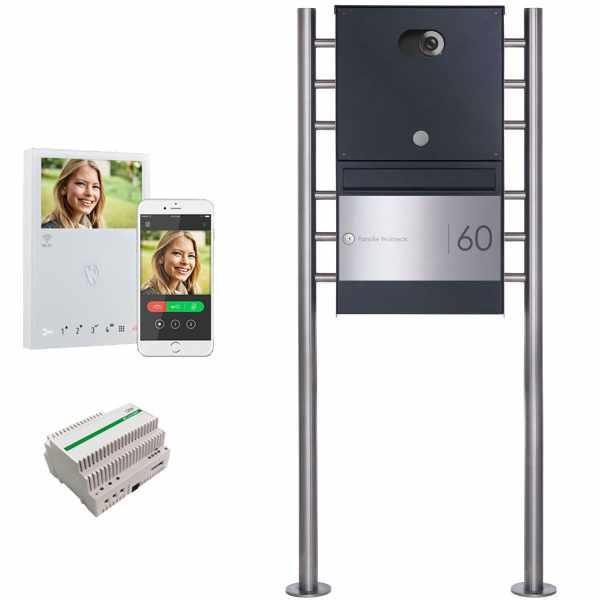 Edelstahl Standbriefkasten BASIC Plus 381X ST-R Elegance II - Comelit VIDEO Komplettset Wifi - RAL