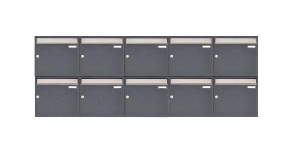 10er 2x5 Aufputz Briefkastenanlage Design BASIC 382 AP - Edelstahl-RAL 7016 anthrazitgrau