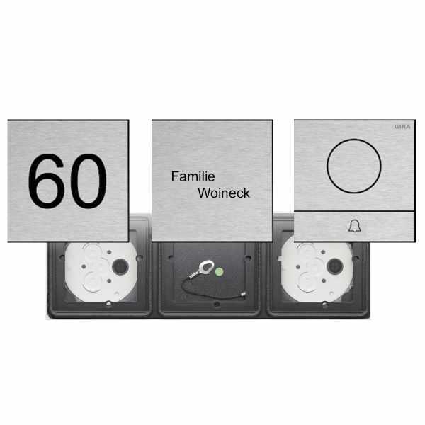 3er AUDIO Set GIRA System 106 - Edelstahl V2A - Sprechanlage mit 1x Klingeltaster