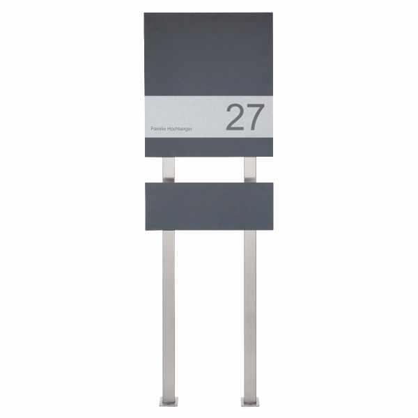 Design Standbriefkasten SCHILLER MEDIUM VARS - RAL Farbe mit Edelstahlapplikation