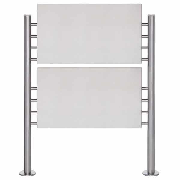 Schild freistehend BASIC 390ES - Edelstahl Standelemente - 2x Edelstahlblech 800x457 einseitig