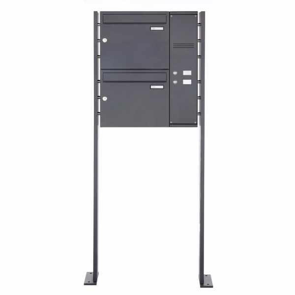 2er Edelstahl Standbriefkasten BASIC Plus 592C ST-P pulverbeschichtet - Klingelkasten - INDIVIDUELL