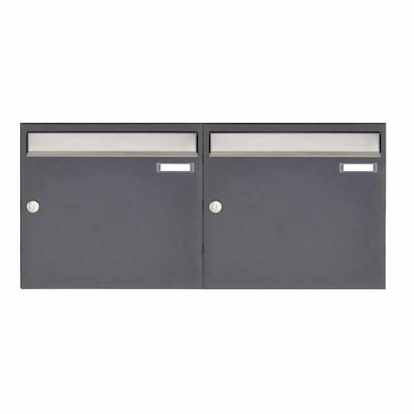 2er 1x2 Aufputz Briefkastenanlage Design BASIC 382 AP - Edelstahl-RAL 7016 anthrazitgrau