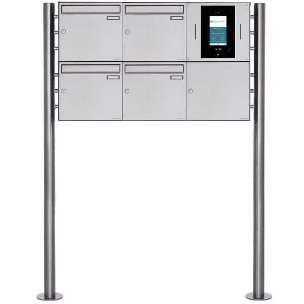 4er 3x2 Edelstahl Standbriefkasten BASIC Plus 381X ST-R - STR Digitale Türstation - Komplettset
