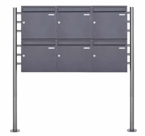 6er 2x3 Standbriefkasten Design BASIC 381 ST-R - DB703 eisenglimmer