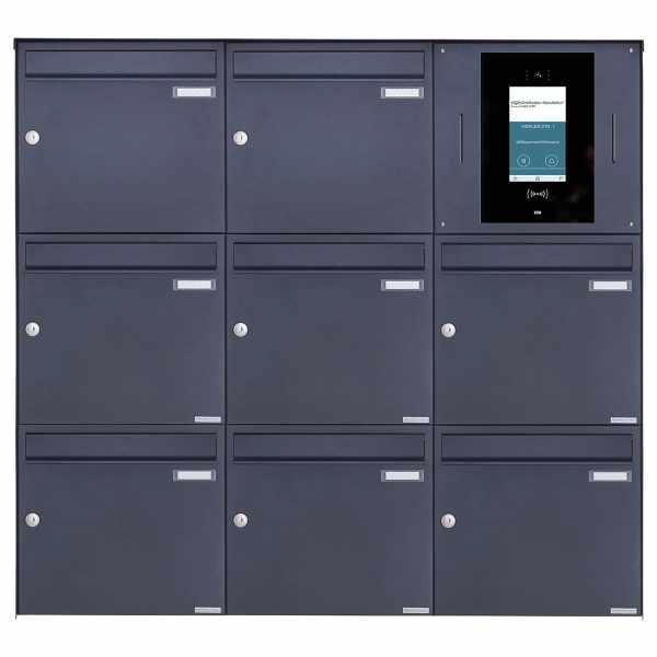 8er 3x3 Edelstahl Aufputzbriefkasten BASIC Plus 382XA AP - RAL - STR Digitale Türstation Komplettset