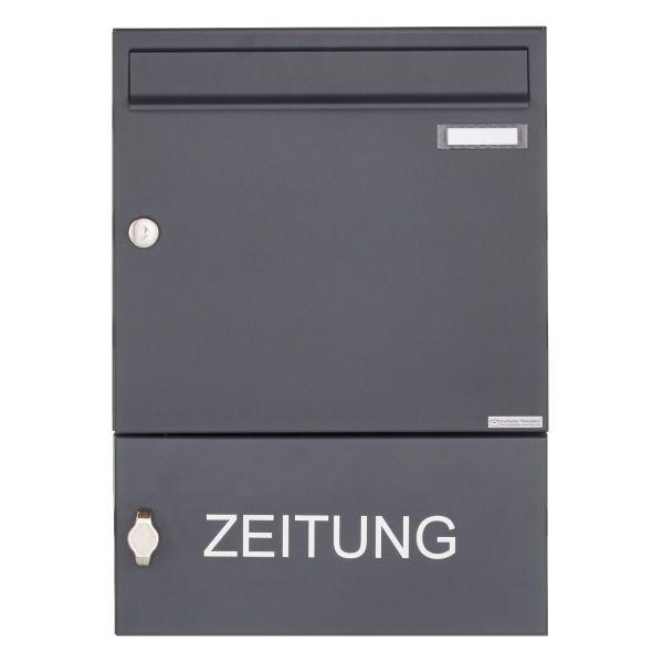 Aufputz Briefkasten Design BASIC 382A AP mit Zeitungsfach geschlossen - RAL 7016 anthrazitgrau