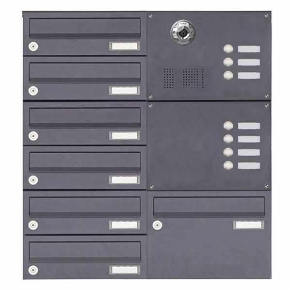 7er Aufputzbriefkasten BASIC Plus 385KXA AP mit Klingelkasten - Kameravorbereitung