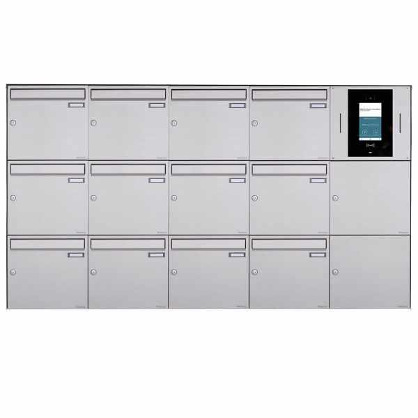 12er 5x3 Aufputzbriefkasten BASIC Plus 382XA AP - Edelstahl geschliffen - STR Digitale Türstation