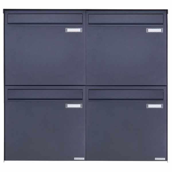 4er 2x2 Edelstahl Zaunbriefkasten BASIC Plus 382XZ - RAL nach Wahl - Entnahme rückseitig