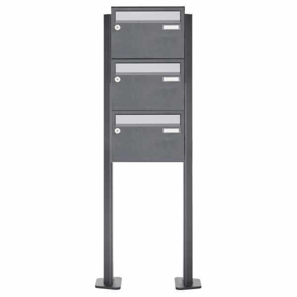 3er Briefkastenanlage freistehend Design BASIC Plus 385XP220 ST-T - Edelstahl-RAL nach Wahl