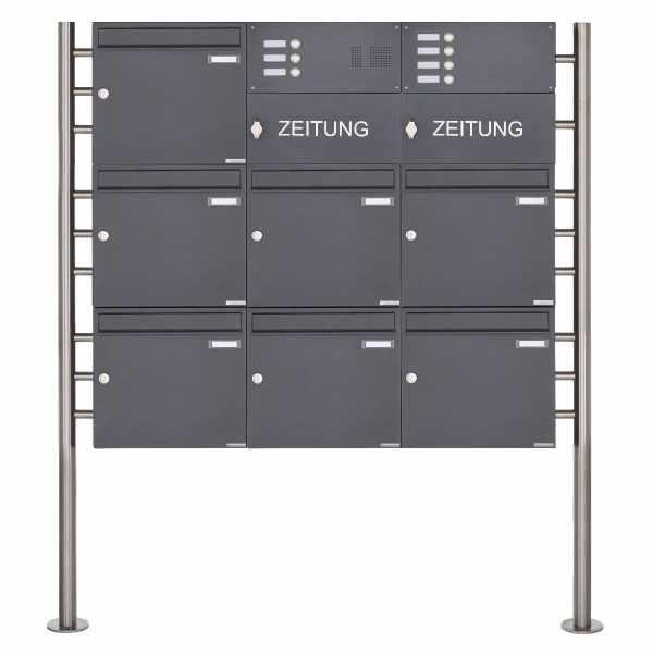 7er Standbriefkasten Design BASIC 381 ST-R mit Klingelkasten & Zeitungsfach- RAL 7016 anthrazit
