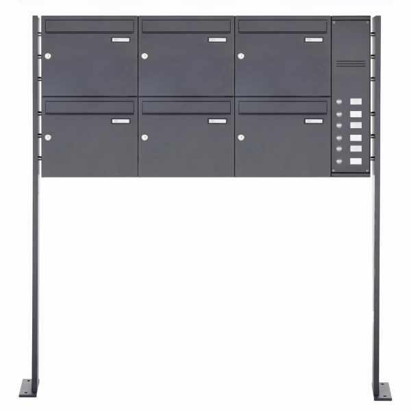 6er Edelstahl Standbriefkasten BASIC Plus 592C ST-P pulverbeschichtet - Klingelkasten - INDIVIDUELL