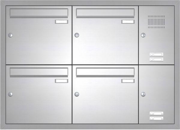 Edelstahl Unterputz Briefkastenanlage BASIC 534-UP - Klingel- Sprechstelle - 4 Parteien