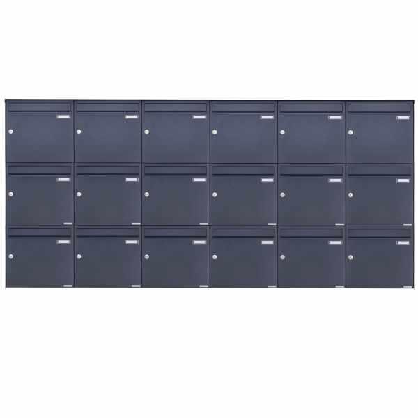 18er 3x6 Edelstahl Aufputz Briefkasten Design BASIC Plus 382XA AP - RAL nach Wahl
